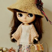 free shipping Linen trigonometric cape multicolor doll clothes blythe