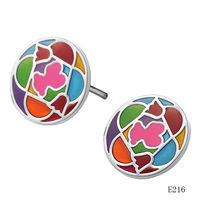 Fashion accessories 2011 jewelry round puzzle multicolour girls titanium stud earring ge216
