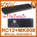 by dhl or ems 20 pieces A9 Dual Core Mini PC RK3066 Stick TV Dongle MK808 Android 4.1 UG802 III Remote Control RC12 air mouse(China (Mainland))