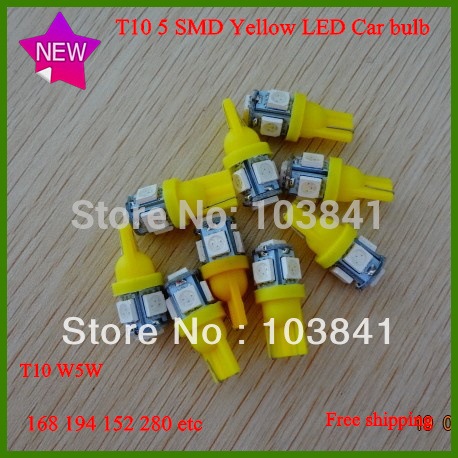 Free shipping 2013 new 20pcs car led lamps T10 194 W5W 168 SMD 5050 LED side Wedge Light Bulb yellow canbus bulbs12V T10 5 LED(China (Mainland))