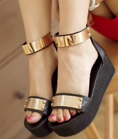 Free shipping NEW high heel wedge sandals fashion women dress sexy shoes slippers P3866 hot sale EUR size 34-40