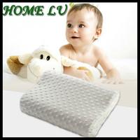 Free shiping white velvet fabric cover memory foam waving shape neck rest jacquard massage cute children's pillow ( WN11)