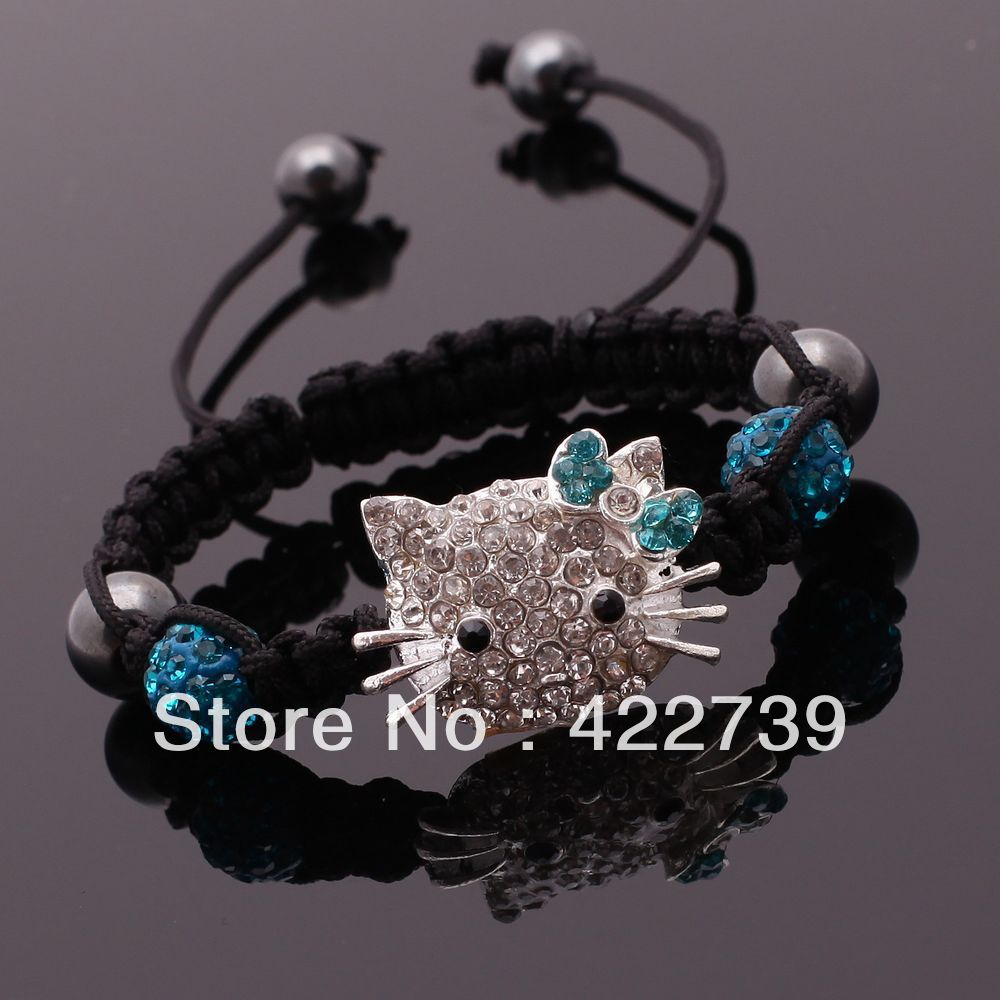 2013 NEW Style Peacock blue Hello Kitty Shamballa Bracelets HD008 Free Shipping Shamballa Charm bracelets for women(China (Mainland))
