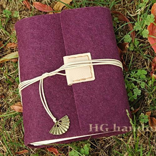 Simple hg wool felt handmade tsmip fabric notebook diary notepad gift pencil case(China (Mainland))