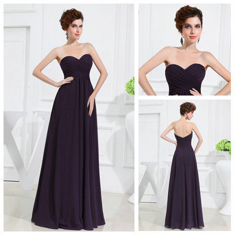 Purple Chiffon Wholesale Price Long Sweetheart Prom Gowns Cheap Evening Dress 2013zarabridal(China (Mainland))