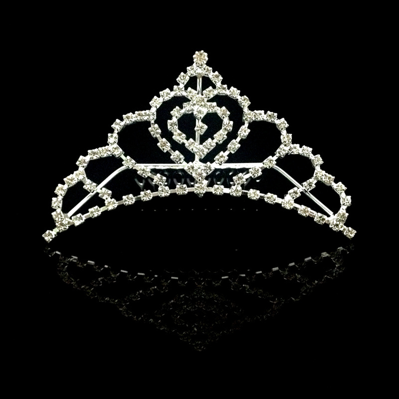 Adorable Rhinestone Copper Silver Plated Hair Comb Tiaras Crown Girls's Hair Wear Accessories Factory Direct Wholesale(China (Mainland))