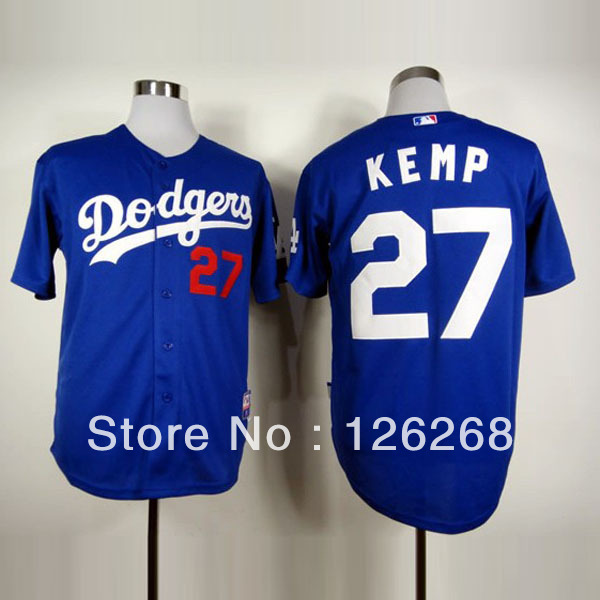 Big discount 2013 free Shipping #27 Matt Kemp Los Angeles Dodgers throwback Authentic adult Baseball jersey,white/gray/blue(China (Mainland))