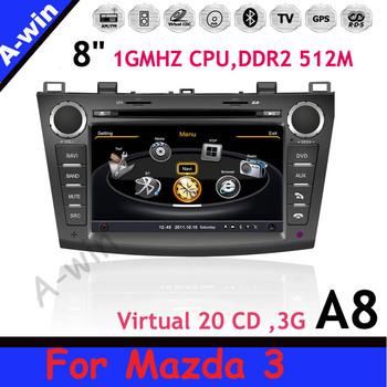 DDR2 512M 4G Flash Memory Virtual 20CDC 8'' Car audio unit For Mazda 3 1GMHZ CPU 3G/3D GPS/TV/Radio/iPod/BT/USB