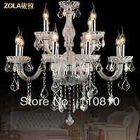 European crystal candle lamp luxury bedroom villa living room with chandelier lighting k9 PL7220-12