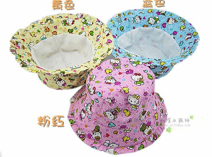Multi-color Free Ship- Kids Hats, Children&#39;s Hats, cute hello cartoon kitty girls bucket hats,Baby sun cap children visor S167(China (Mainland))