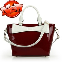 Summer 2013 brief fashion candy color handbag messenger bag japanned leather women's handbag 0334