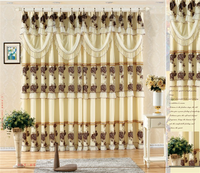2013 New Hot curtain Fine quality lace curtain gold peony coffee claretred Free shipping(China (Mainland))