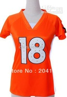 Women's 18 football jersey orange synthetic diamond drop ship mixed order size ML XL XXL