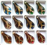 6X Murano Lampwork Glass Gold Foil Pendant ,Free Shipping