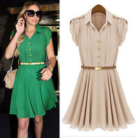 [Cerlony] New Fashion Korea Dress Women Elegance Bow Pleated Short Sleeve Knee Length Turn-down Chiffon Dress With Sashes CA03