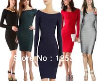 Elegant Simple Fashion Celebrity Designer Dresses Slash Neck Long Sleeve Bandage Dresses Free Shipping!