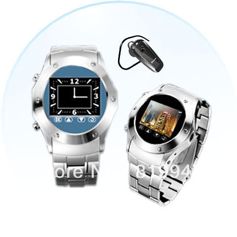 Free shipping Cheap W968 Watch Phone Tri Band Single SIM with Touch Screen Camera FM Bluetooth(Silver)(China (Mainland))