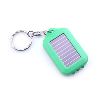 3-LED White Light Solar Powered Self-Recharge Flashlight Keychain -Green