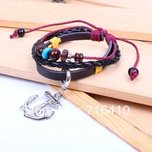 Wholesale Fashion Charm Vintage Anchor Key Leather Wooden Pendant Unisex Rope Bracelet European Bracelet Jewelry 120 pcs(China (Mainland))