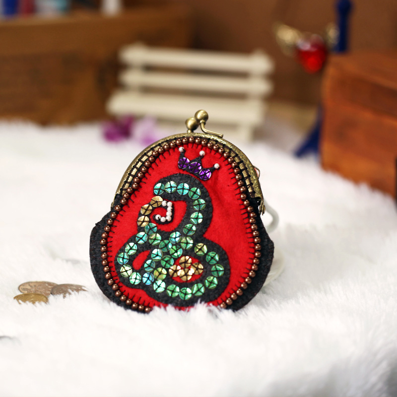 Non-woven material handmade diy snake-q mouth gold package luxury coin purse(China (Mainland))