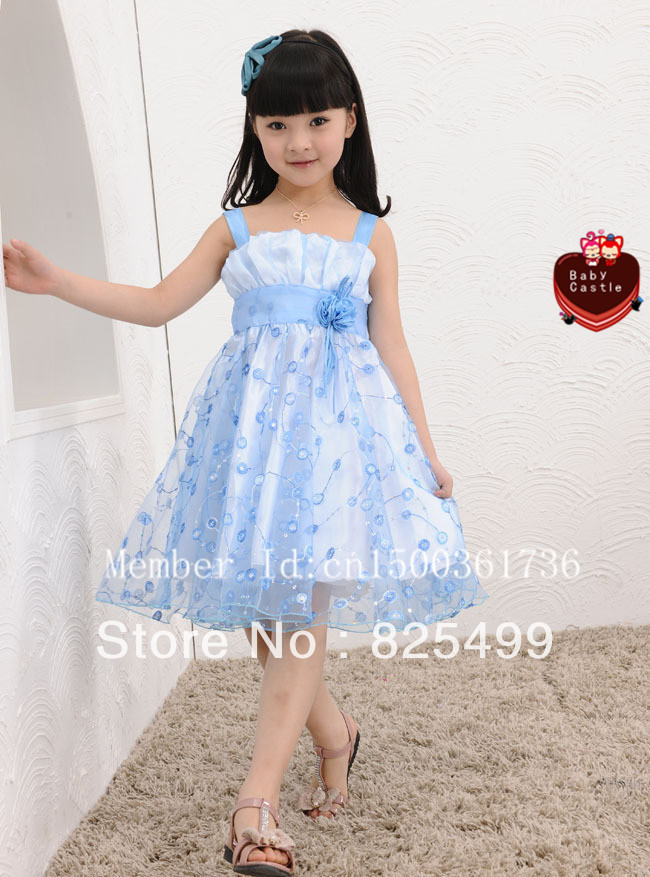 RGSC0004 summer girl princess dress girl summer Chiffon dresses summer girl performance dress red and blue 120cm-150cm(China (Mainland))