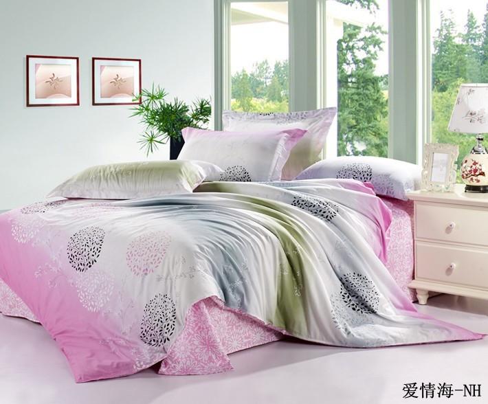 2013 100% cotton green eco-friendly print four piece set sea of love(China (Mainland))