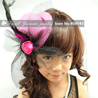 6Pcs/lot~New Fashion sinamay fascinator hats Veils Bud feathers bow hair clips Cocktail party 7color hair accessories FJ50247
