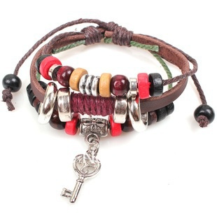 Wholesale Fashion Charm Vintage Key Leather Wooden Pendant Unisex Rope Bracelet European Bracelet Jewelry 120 pcs(China (Mainland))