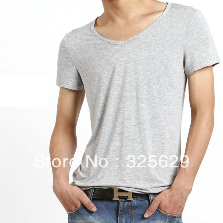 2013 Cool Summer Men's Clothing Solid Color Gray&White Brief T-shirt m Male Short-sleeve 1 Piece Freeshipping(China (Mainland))