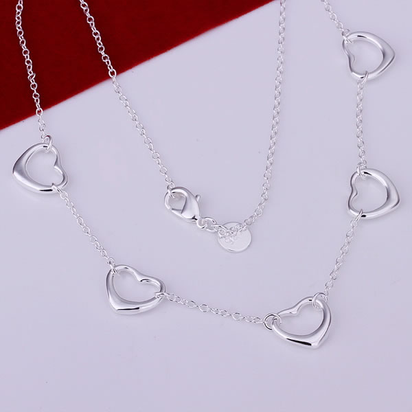 Lose money Promotion fashion silver necklace 925 silver necklace, 925 silver fashion jewelry Five Small Heart Necklace N121(China (Mainland))