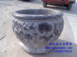 Antique stone garden aquarium pots Quyang carving stone fish tank(China (Mainland))