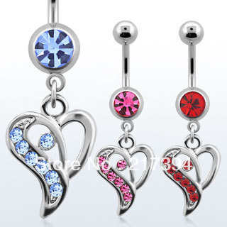 Free Shipping Button Barbell Bar Belly Body Piercing mixed color Heart Rhinestone Barbell Navel Belly ring 15pcs(China (Mainland))