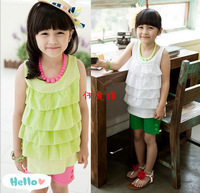Wholesale - Summer Children Sets Korean sleeveless purity chiffon skirt Kids suit topwear+shorts girls outfits