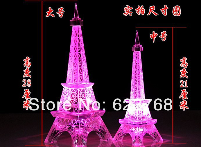 Crystal Eiffel Tower Ornament with Red LED Light(China (Mainland))