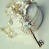 Min order $10, Fashion zircon crown necklace Keys necklace Pendant Sweater Chain Necklace