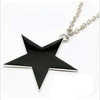 Promotion Fashion Black Star five-pointed star Pendant Necklace Long sweater chain necklace