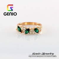 GN R016 Italina 18K Gold Plated emerald Single personalized ring  female Austrian Crystal Ring free shipping!