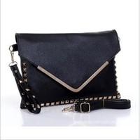 2013 envelope bag punk rivets bag style hand bag shoulder strap bag shoulder lady's bag! Free shipping!