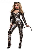 Discount On Sale Cat Woman Costume With Special Cat Ears And Tail ,Sexy Halloween Party Dress For Adult