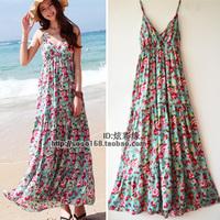Beach dress bohemia plus size one-piece dress mopping the floor dress full beach