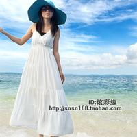 Solid color bohemia V-neck halter-neck tube top spaghetti strap full dress beach dress one-piece dress