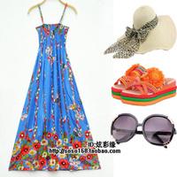 Bohemia full dress one-piece dress beach dress suspender