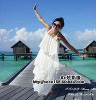 Bohemia solid color chiffon pleated one-piece dress beach dress spaghetti strap long