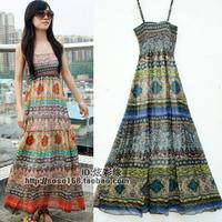 Bohemia national trend tube top beach dress chiffon spaghetti strap full dress expansion bottom one-piece dress