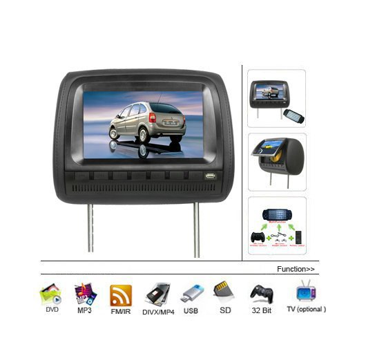 9 Inch LCD Car Headrest DVD Player FM Transmitter USB SD Wireless games(China (Mainland))