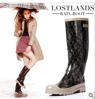 2014  Hot Selling Cool Design Black Lace Fashion Rubber Quality Designer Women's Rainboots Rain Water Boots Sheso