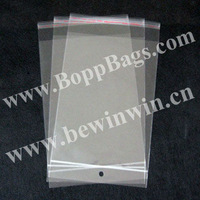 Polybags Packaging in size 14.5x26.5cm with self adhesive seal and with hanging header