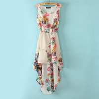 2013 summer Women's new Printing Sleeveless Asymmetrical Dress Short in front Back long WQZ9489