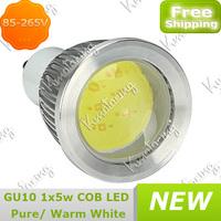 Spotlight Saving Energy Gu10 Down Lamp Led New 85-265V High Power 7W COB Bulb Warm/ pure White free shipping