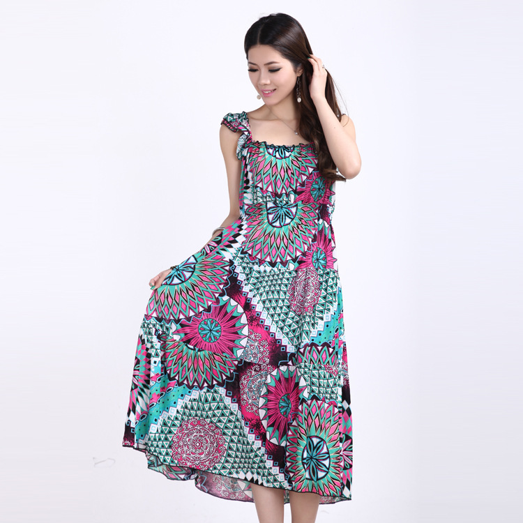 Bohemian Pastoral Style Korean Fashion Women Dress Hot 2013 Summer Irregular Paillette Sophisticated Maxi Dress Galaxy Dress B5(China (Mainland))